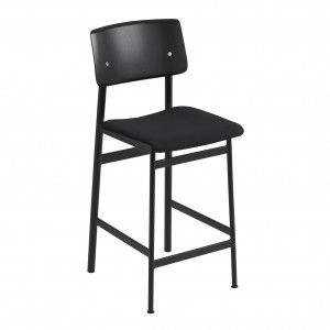 LOFT stool black/upholstered seat