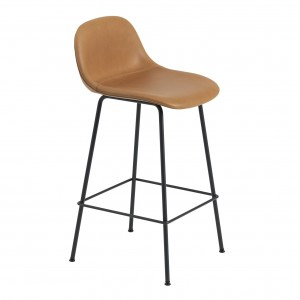 FIBER stool - tube base - leather Silk cognac