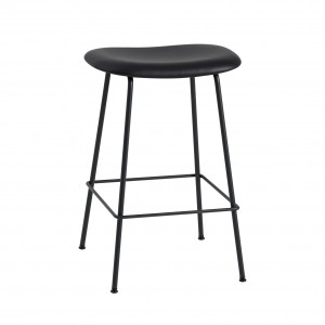 FIBER stool - tube base - black/black Silk leather