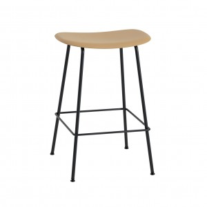 FIBER stool - tube base - ochre/black