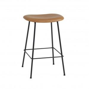 FIBER stool - tube base - leather Silk cognac