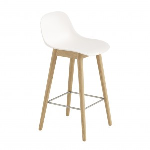 FIBER stool - wood base/white
