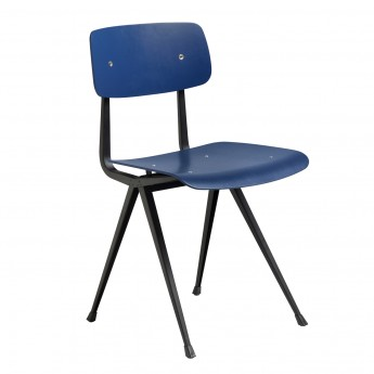 RESULT chair black powder coated steel - Dark Blue stained oak