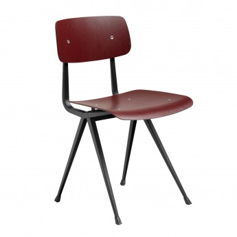 RESULT chair black powder coated steel - Dark Brick stained oak
