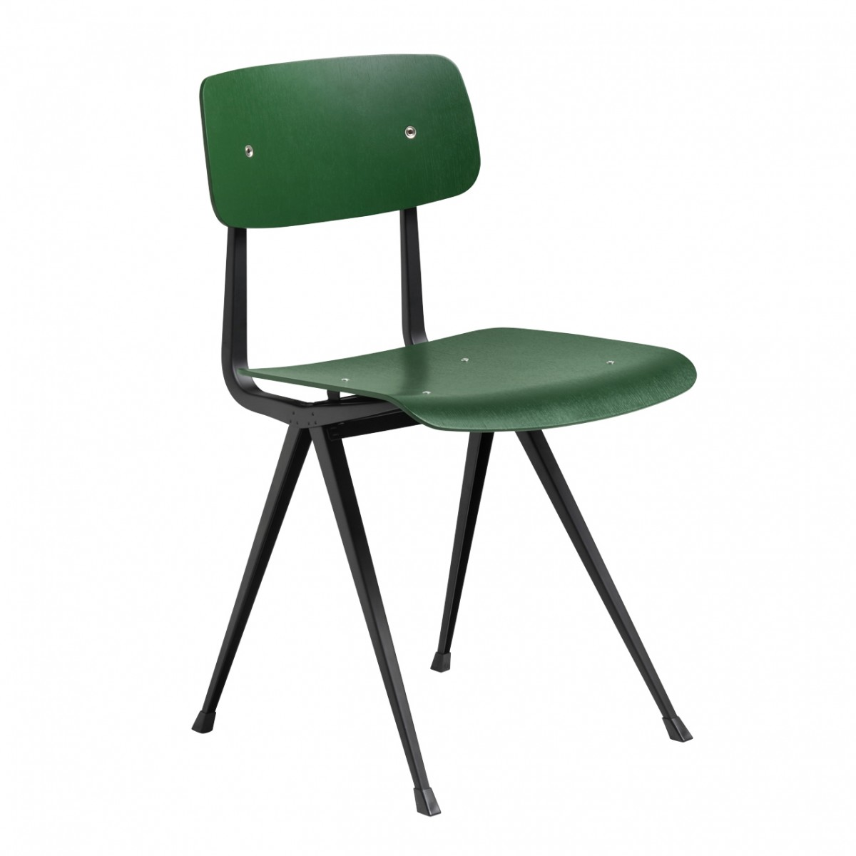 Result chair black powder coated steel green forest stained oak