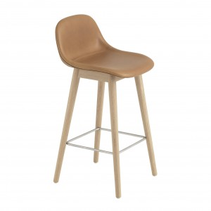 FIBER stool - wood base/leather cognac