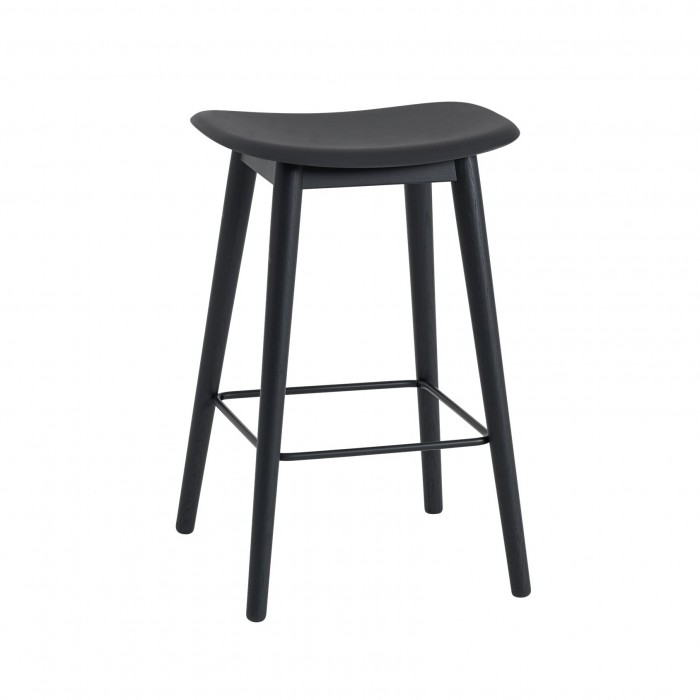 FIBER stool - wood base/black