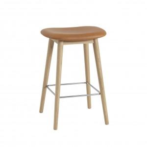 FIBER stool - wood base/leather cognac