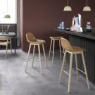 FIBER stool - wood base/black