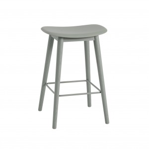 FIBER stool - wood base/dusty green