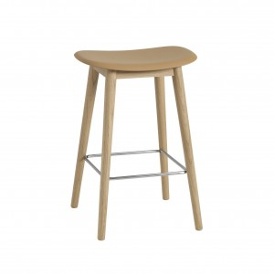 FIBER stool - wood base/ochre