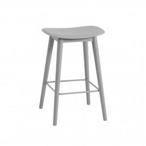 FIBER stool - wood base/grey