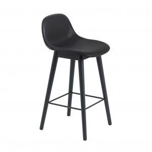 FIBER stool - wood base/black leather