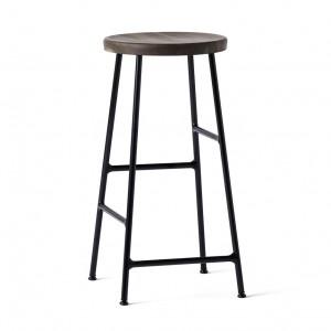 CORNET bar stool Black steel - Smoked solid oak