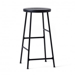 CORNET bar stool Black steel - Black stained solid oak