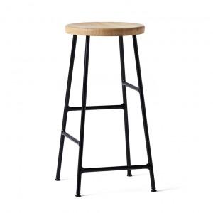CORNET bar stool Black steel - Oiled solid oak