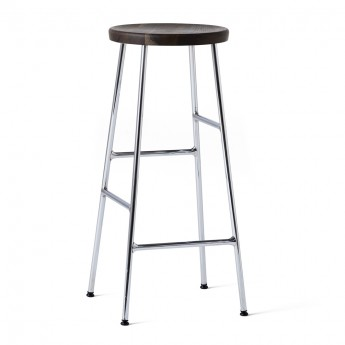 CORNET bar stool Black steel - Smoked oak