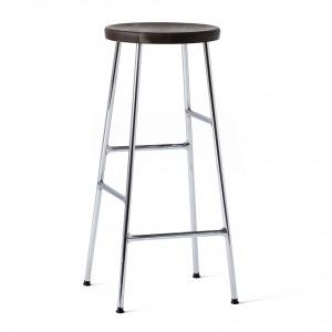 CORNET bar stool Chromed steel - Smoked solid oak