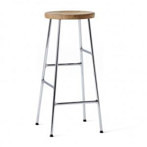CORNET bar stool Chromed steel - Oiled solid oak