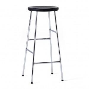 CORNET bar stool Chromed steel - Black stained solid oak