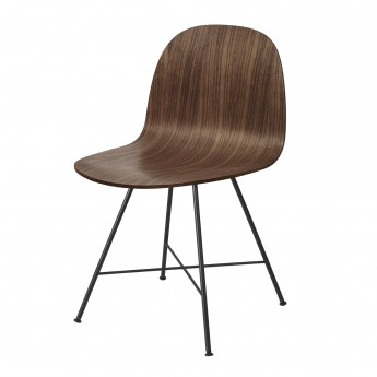 Chaise 2D noyer/pieds centrés