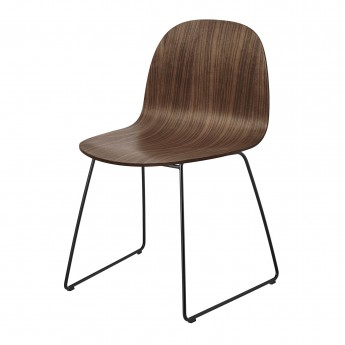 Chaise 2D noyer/pieds luge