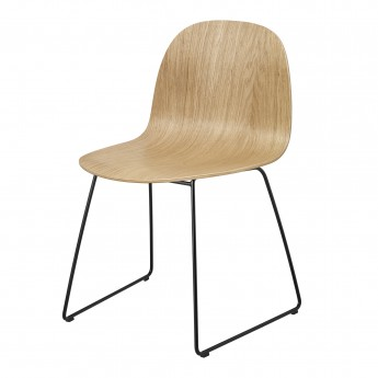 Chaise 2D chêne/pieds luge