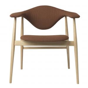 Chaise MASCULO tapissée/pieds bois chêne