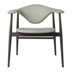 MASCULO upholstered chair / smocked oak frame