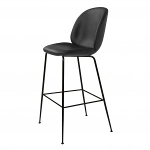Tabouret BEETLE - cuir noir/métal noir
