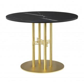 Table TS Ø80 cm marbre noir/pied laiton