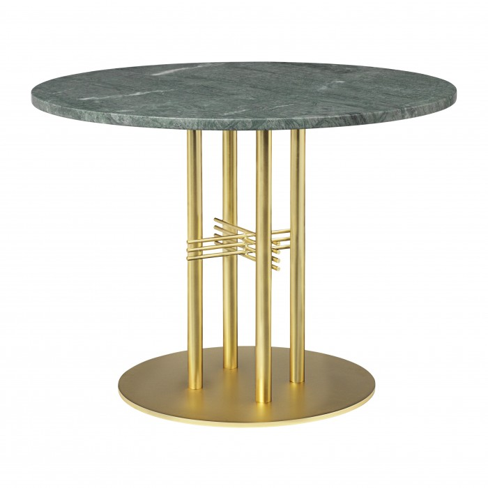 Table TS Ø80 cm marbre vert/pied laiton