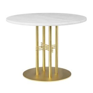 TS table Ø80 cm white marble/brass frame