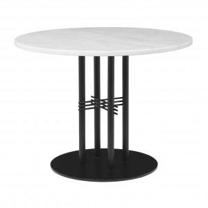 TS table Ø80 cm white marble/black frame