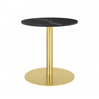 1.0 table Ø60 cm black marble/brass frame