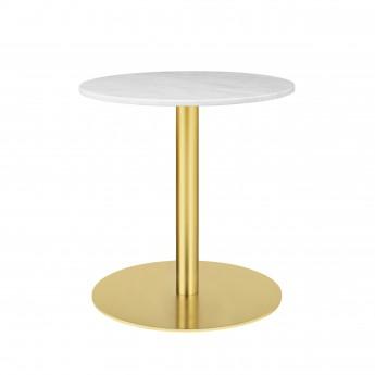 Table 1.0 Ø60 cm marbre blanc/pied laiton