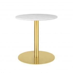 1.0 table Ø60 cm white marble/brass frame