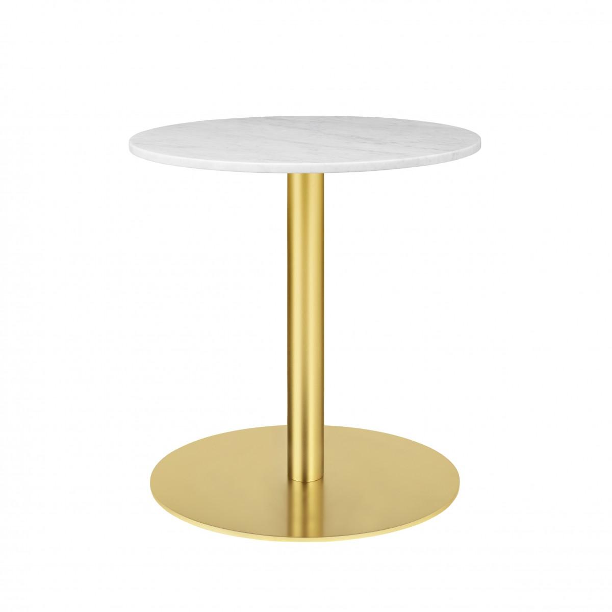 Exceptionnel Table 1.0 Ø60 Cm Marbre Blanc/pied Laiton