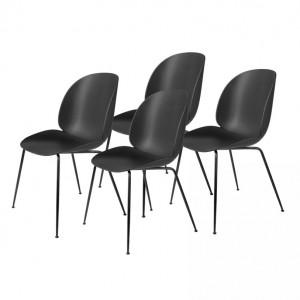 Lot de 4 chaises BEETLE - noir & métal noir