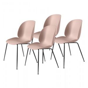 Colli of 4 BEETLE dining chair - pink & black metal