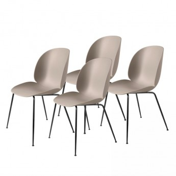Colli of 4 BEETLE dining chair - beige & black metal