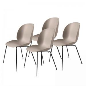 Lot de 4 chaises BEETLE - beige & métal noir