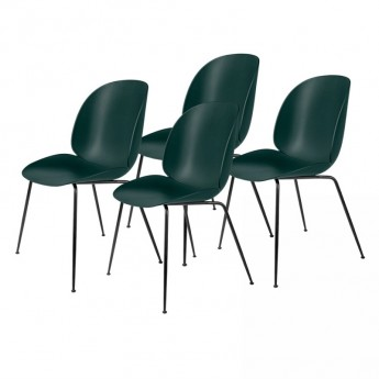 Colli of 4 BEETLE dining chair - green & black metal