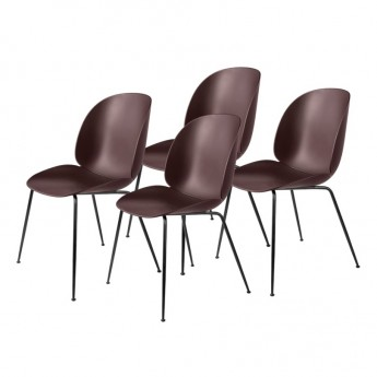 Colli of 4 BEETLE dining chair - dark pink & black metal