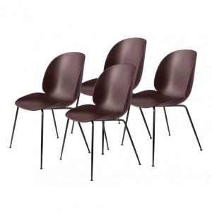 Colli of 4 BEETLE dining chair - dark pink & black metal