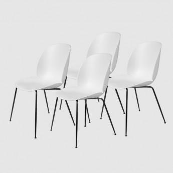 Lot de 4 chaises BEETLE - blanc & métal noir