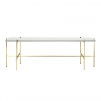TS Console - 1 rack - white glass/brass