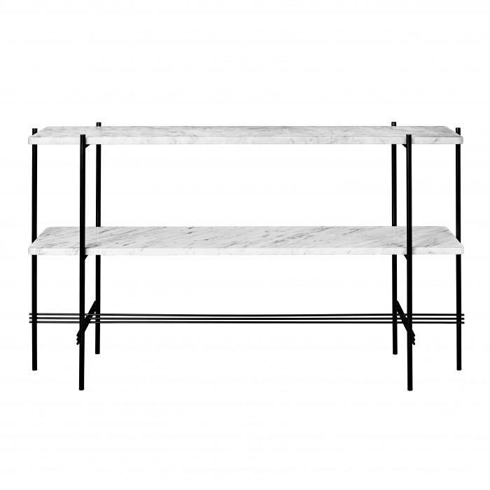 Console TS - 2 étagères - marbre blanc/noir