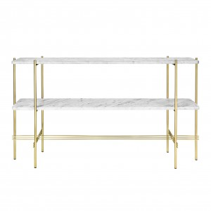 TS Console - 2 rack - white marble/brass