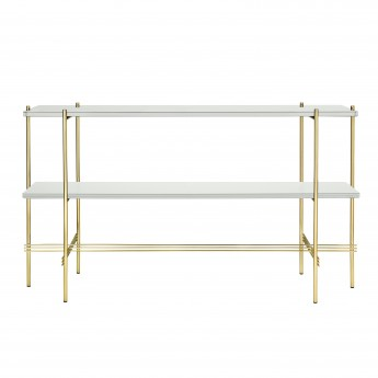 TS Console - 2 rack - white glass/brass